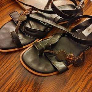 Barney New York Co-Op brown leather flat sandals